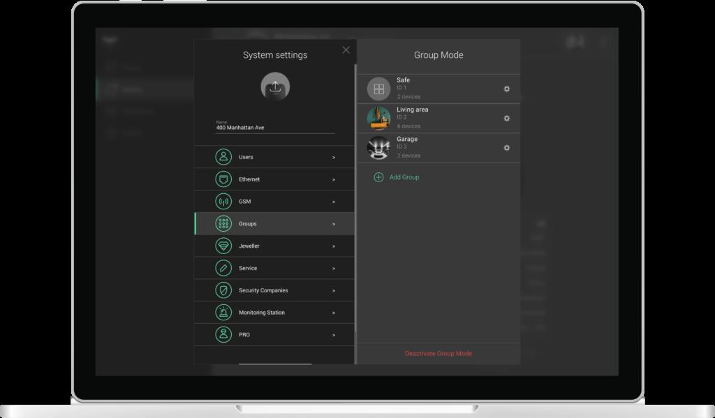 Group mode Ajax PRO Desktop app